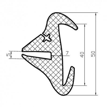 Uszczelka do szyb ciągnikowych, wpust 40 mm