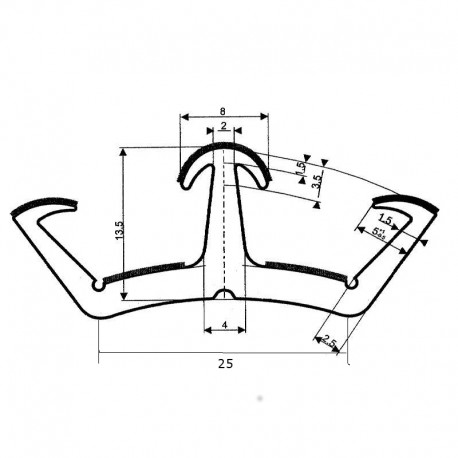 Uszczelka szyby przesuwnej (podwójna), typ SF-7