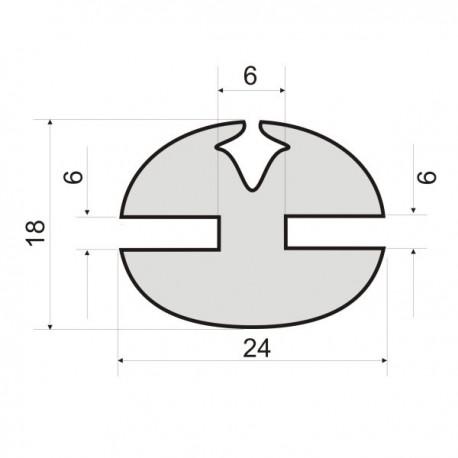 Uszczelka z klinem do szyb, wpusty 6 i 6 mm