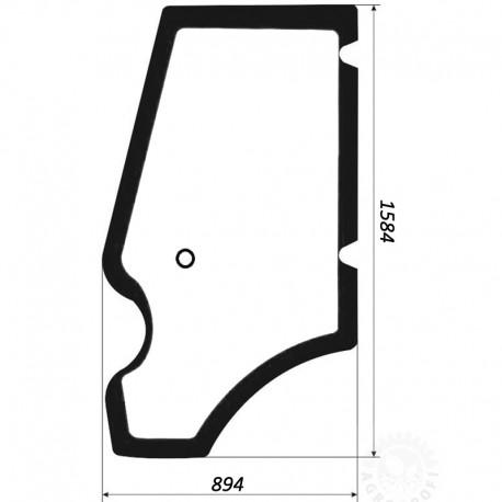 Szyba gięta (zielona) drzwi lewych JCB 3CX/4CX/5CX