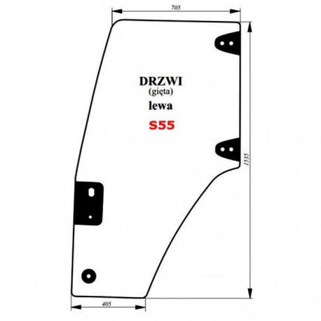 Szyba gięta drzwi lewych (zielona) Case JX(U)