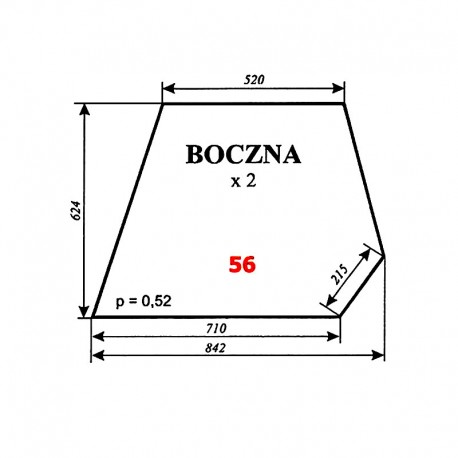 Szyba boczna C-360 kabina czeska