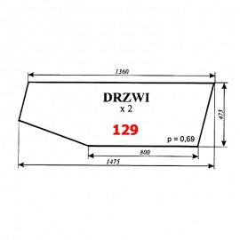 Szyba drzwi C-360 kabina czeska (nowy typ)