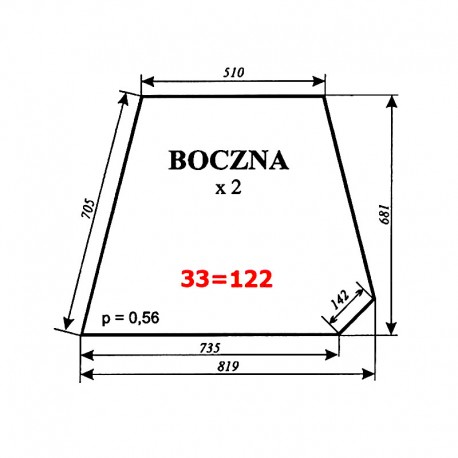 Szyba boczna C-360 kabina Sokółka (nowy typ)