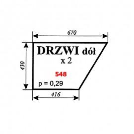 Szyba dolna drzwi Zetor 5611, 5718, 6718