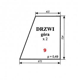 Szyba górna drzwi Zetor 7011 typ BK 5911