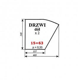 Szyba dolna drzwi Zetor 7011 typ BK 5911