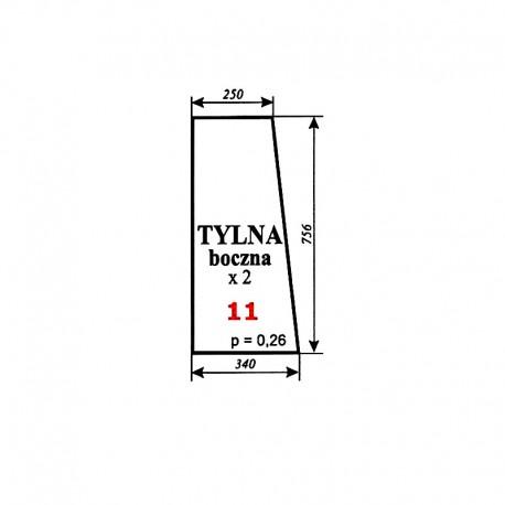 Szyba tylna boczna Zetor 7011 typ BK 5911