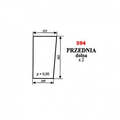 Szyba przednia dolna Zetor 8540, 9540, 10540 - nowy typ