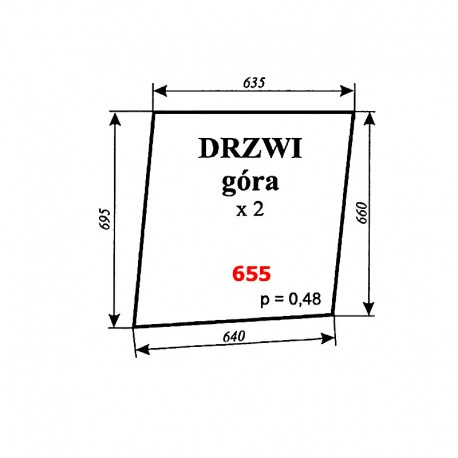Szyba górna drzwi Zetor 12245, 16245