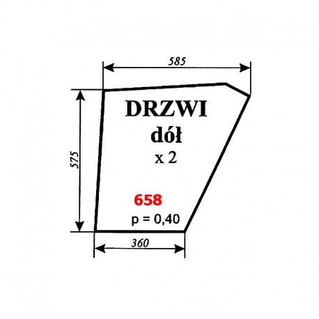 Szyba dolna drzwi Zetor 12245, 16245