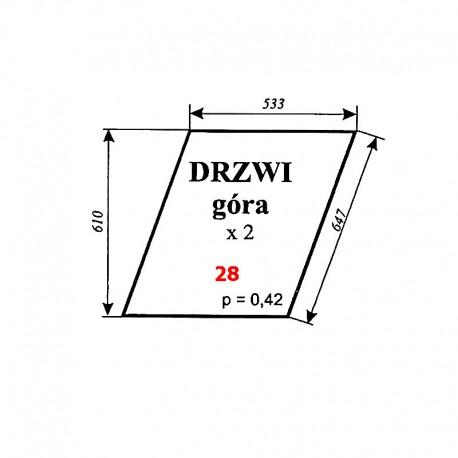 Szyba górna drzwi Ursus 1604 (1201), C-385 stary typ