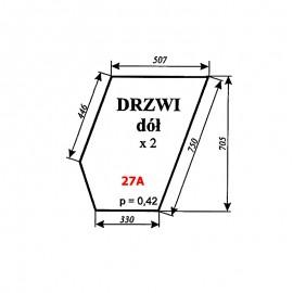 Szyba dolna drzwi Ursus 1604 (1201), C-385 stary typ