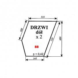 Szyba dolna drzwi Ursus 912 (1614) typ 80354 Kunów, C-385 nowy typ