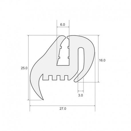 Uszczelka szyby ciągnikowej, typ TS-3max