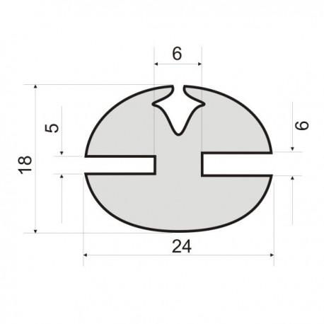 Uszczelka z klinem do szyb, wpusty 6 i 5 mm